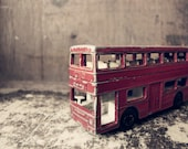 Photo postcard - double decker - vintage style - toy double decker bus - die-cast model - LAST ONE