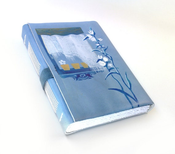 Handmade Leather Journal - Light Blue Leather Journal / Diary / Notebook