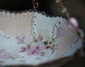 Vintage Floral Shabby Chic Bowl, bird bath or bird feeder, upcycle, repurposed, recycled Vintage bowl