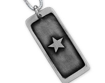Service Flag Necklace Etched - Veteran Necklace, Service Jewelry, Military Spouse Jewelry, Memorial Service Necklace