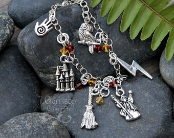 Wizard Charm Bracelet - magic themed silver plated pewter charms and scarlet and gold crystals, on sterling silver chain -Free Shipping USA