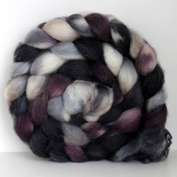 ReSeRvEd- SMOKEY -  BFL/SILK Hand Painted Roving - 4ozs