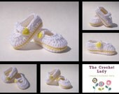 Crocheted Mary Jane Shoes, Baby Shoes / Booties 0 - 3 Months White and Yellow
