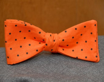 Orange and Black Polka Dot  Bow Tie