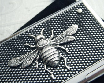 Silver Bee Business Card Case Silver & Black Industrial Steampunk Card Case Gothic Victorian Bee Case Gifts For Her