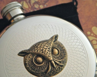 Round Owl Flask Silver & Brass Gothic Victorian Steampunk Vintage Inspired Reproduction Halloween Flask
