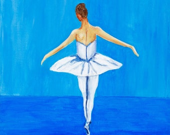 Blue Ballet Painting, Ballerina en point, Girls Room Wall Art Print, Girls Nursery Decor, ballerina art print