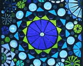 Mediterranean Dreams Number One Glass on Glass Mosaic window panel shades of Blues and Greens Circles