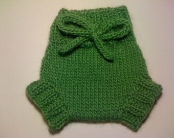 Wool Cloth Diaper Cover - Newborn Baby Hand Knit Green Wool Soaker or Shorties with Knit Drawstring
