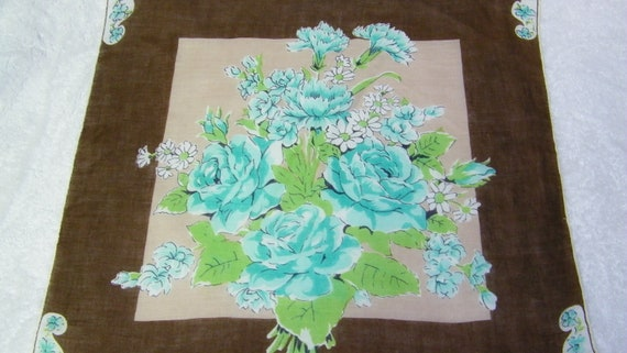 "Vintage 16"" Handrolled Linen Teal Blue and Brown Roses and Daisies Fall Floral Handkerchief, 7811"