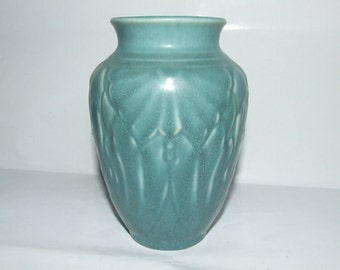 1948 Matte Turquoise Rookwood Raised Relief Flower