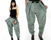 Vintage Inspired Hammer Pants Vintage 80s 90s Harem Neon Surf Muscle Pants Green Acid Wash Fabric Pick Your Size XS M L XL
