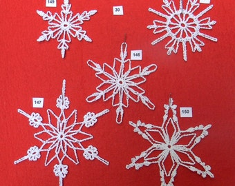 PDF Patterns for 5 Crocheted Snowflakes - set 30