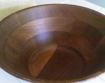 Vintage large Black Walnut   wooden ...fruit bowl  , salad bowl  on sale