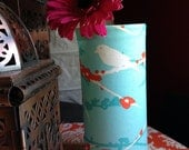 Bird on Branch fabric wrapped vase (SMALL) Blue & Coral decorative vase for your home.