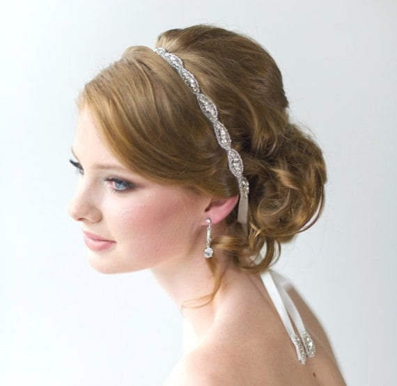 Wedding Hair Accessory, Beaded Headband, Bridal Headband, Crystal Ribbon Headband