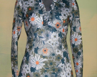 M Vintage 60s 70s Graphic Floral Maxi Dress Hippie Flower Power Gown Made in the USA Mad Men