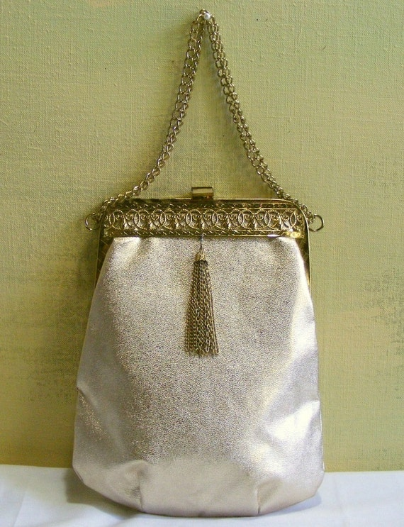 Vintage Gold Metallic Purse Evening Formal Prom Party Holiday Fancy Frame & Tassel