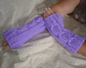 Women's Knitted Purple Hand Warmers