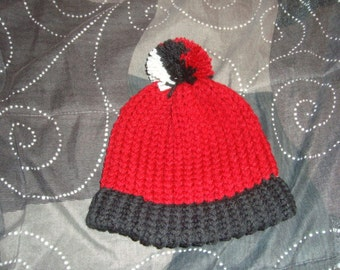Handmade Knitted Red Black Beanie Hat With Pompom