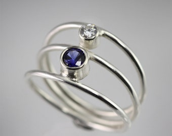 2 Stone Sequence Ring (Sapphire, Cubic Zirconia) made to order