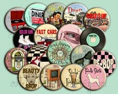 Reserved Listing for Jessica, Fabulous Fifties Pin Back Buttons for Party favors, Set of 6 Dozen Pin Back Buttons