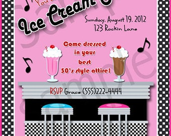 Retro 1950s Style Ice Cream Social Party Invitation Personalized Digital Sheet C-328