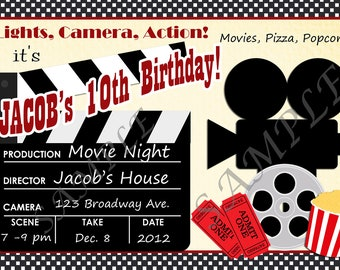 Movie Night Party Invitation Personalized C-382 Digital Download