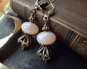 Lovely Art Nouveau dangle earrings, opalescent pink glass and filigree