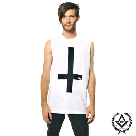 Muscle Shirt // Inverted Cross White BMA Large