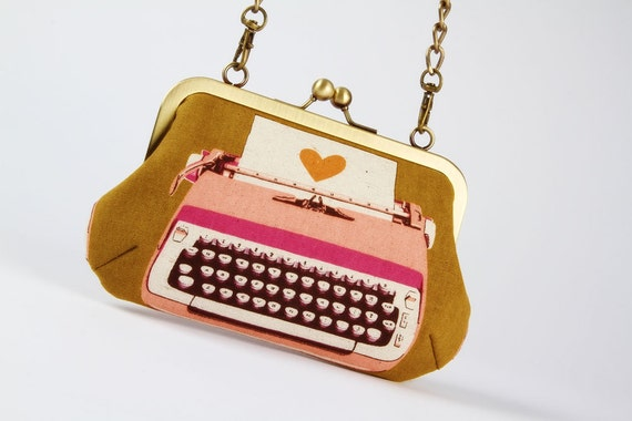 Party purse - Retro typewriters in plum and gold - metal frame handbag with shoulder strap
