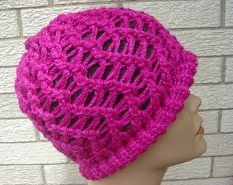 Bright Pink Brilliant Fuschia Cap - Breast Cancer Awareness - OOAK by an EtsyMom