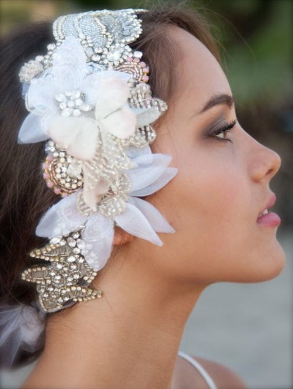 One of a kind Crystal and Petal Head Dress - Blush Tones