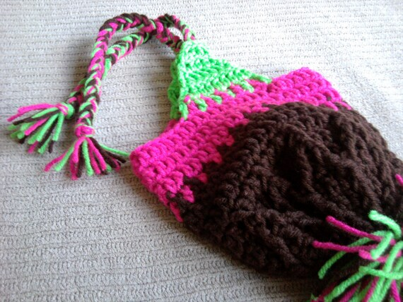 Coffee, Shocking Pink and Bright Green Earflap Hat