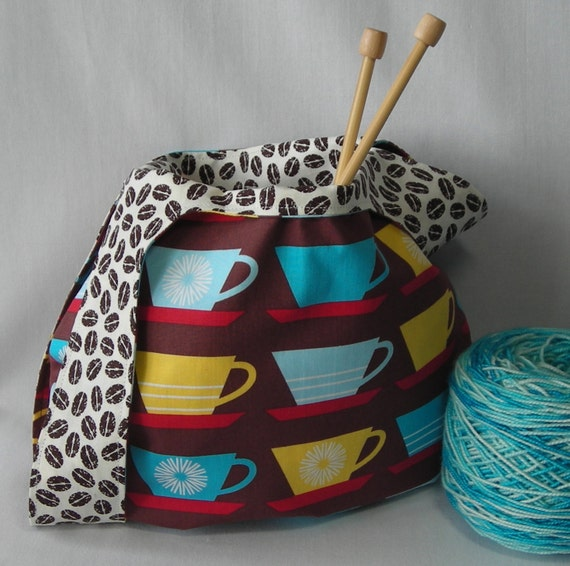 knitting crochet reversible project bag by lavenderhillknits
