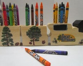 Wooden Tree Train Crayon Holder with Crayons~Crayon Holder~Educational~Learning~Playtime~Classroom Accessory~Artist~Coloring Toy