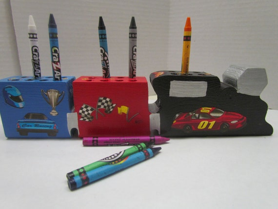 Crayon Holder~Race Car Theme~Handmade Wooden Toy~Birthday, Christmas Gift~Play Time~Gift for Child~Cars and Trains~Creative Play~Artist