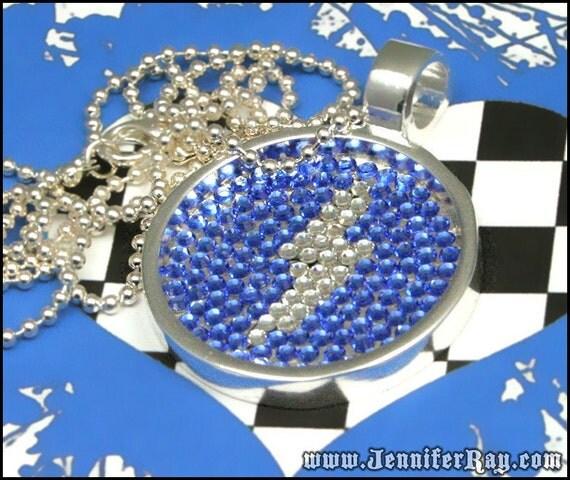 Zeus Thunderbolt - Blue & White Swarovski Lightning Bolt Round Pendant