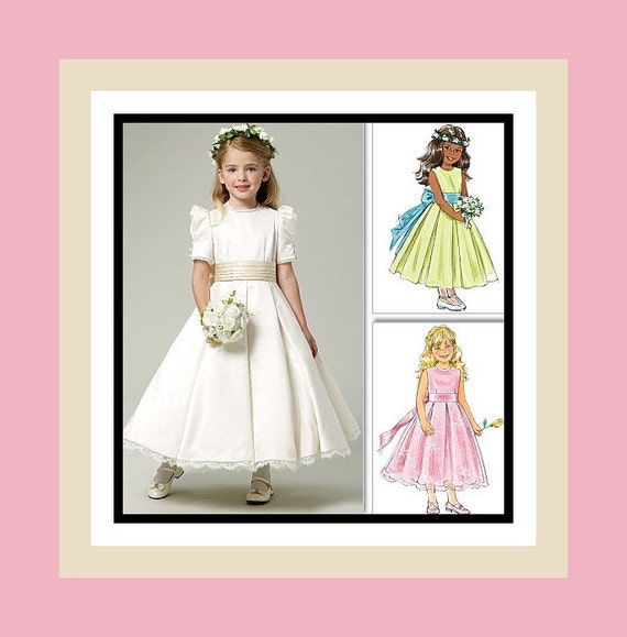 Lovely Flower Girl Gown -Sewing Pattern- Inspired By The BRITISH ROYAL WEDDING Of  William and Kate -Uncut -Size 6-8