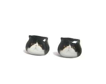 Cute Black and white Exotic Cat Kitten Stud Earrings / cat earrings / black and white cat / cat jewelry / kitten / tabby cat  /  A025ER-C13