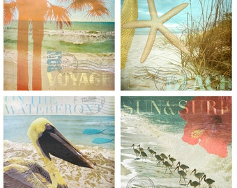 Beach Art Print Set - Save 20% - Palm trees, pelicans, starfish and beach birds for a vacation that never ends.