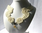 Sophisticated NECKLACE - Venice - Pastel Yellow - Gala Party- Embroidery Free Standing Lace
