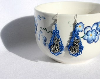 EARRINGS - Chandelier Drop - Blue Sapphaire Royal - Silver Dragon Charm  - Free Standing Lace Embroidery