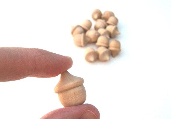 50 MINI Wooden Acorns for Wood Charms, Pendants, Key Chains, Ornaments - Tiny Unfinished Acorns
