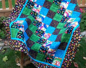 Handmade Lap Quilt, Quilted Throw, Quilted Picnic Blanket, Black Blue Quilt