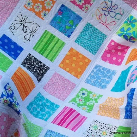 Bright Colors Quilt, Lap or Baby Quilt, Patchwork Throw, Summer Picnic Blanket
