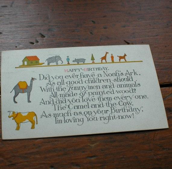 Vintage Noah's Ark Birthday postcard