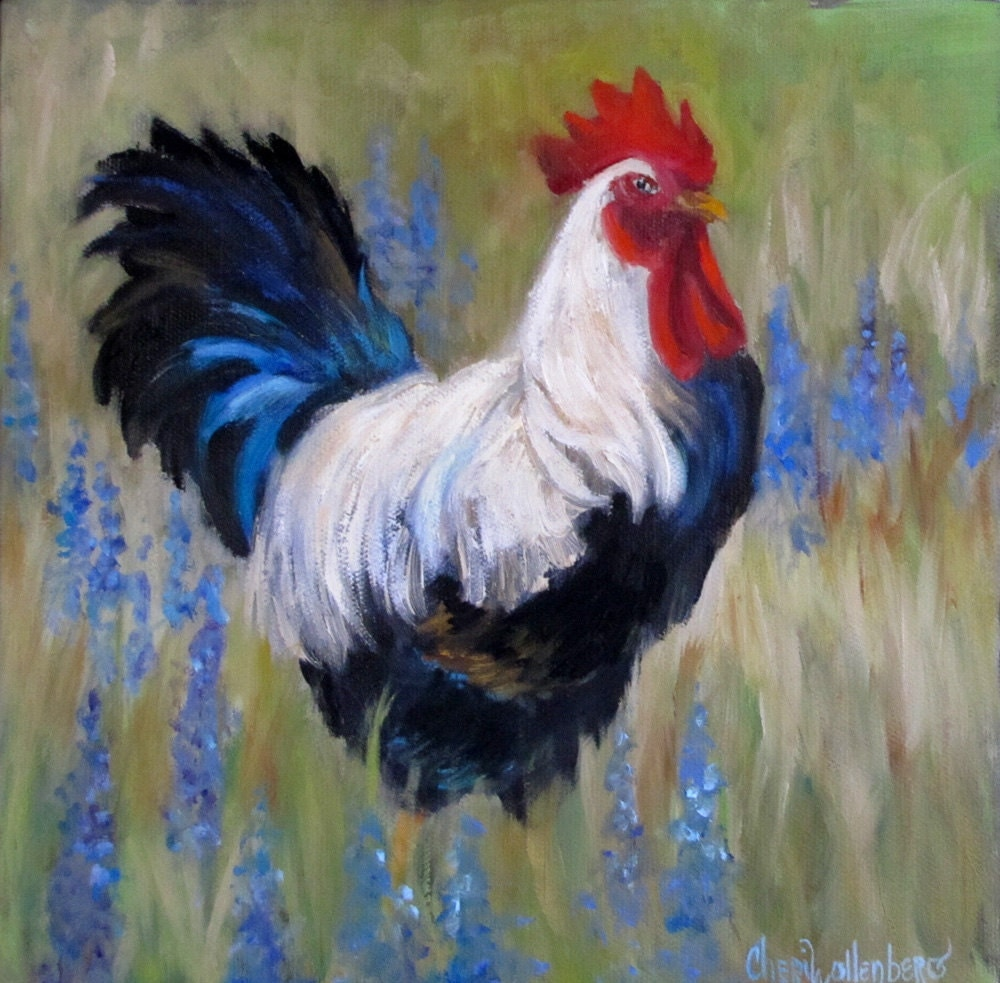 Black and white rooster painting original 10x10 canvas oil for White canvas painting