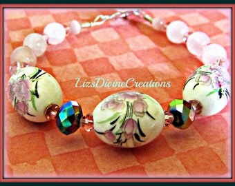 Creamy Porcelain Bracelet with Pink Crystals and Pink Accent Beads Wrapped in Sterling Filled Wire SALE Was 25.00 Now Only 10.00