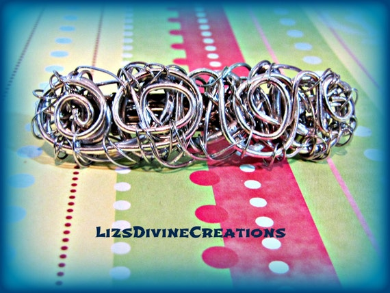 Silver Filled Wire Wrapped Very Small Barrette 2 1/2 Inch x 3/4 Inch